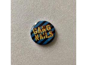 Gangnails button blue stripes