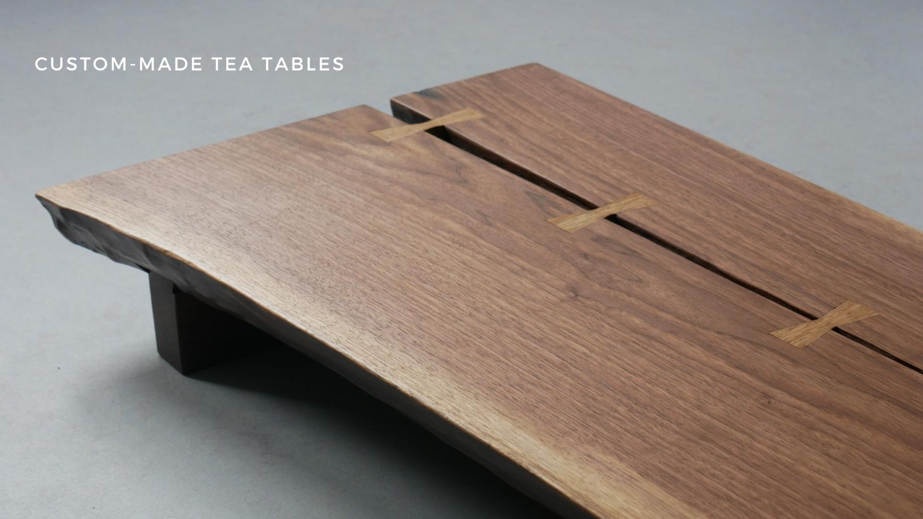 Custom-made tea table from american walnut