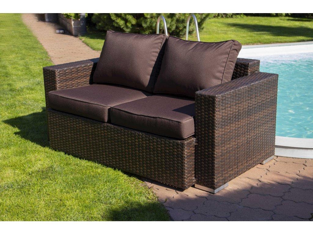Umělý ratan zahradní lavice Daylight mocca/choco