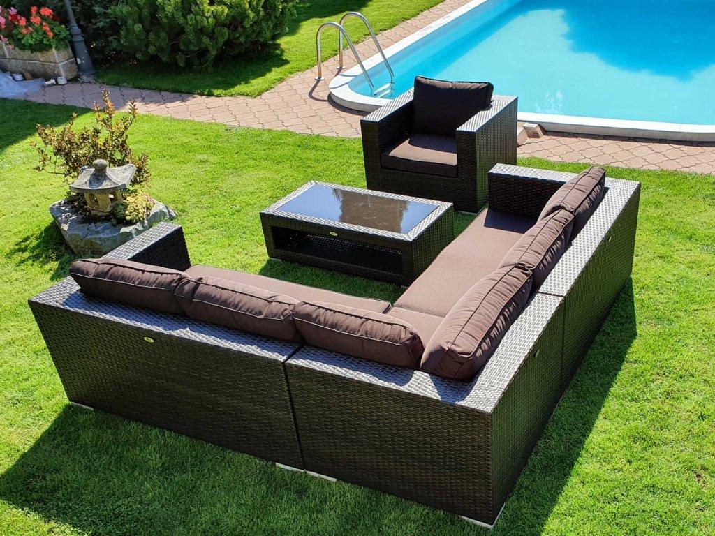Umělý ratan zahradní sestava Garden Dream mocca/choco