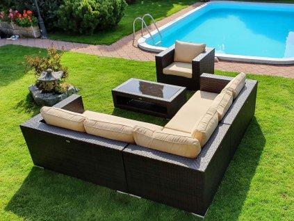 Umělý ratan zahradní sestava Garden Dream mocca