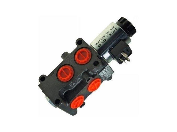 """Hydraulická výhybka. Třetí funkce na nakladač. Ventil pro třetí funkci. 6/2 cestný elektrohydraulický ventil 12 VDC  50 l/min G1/2"""""""