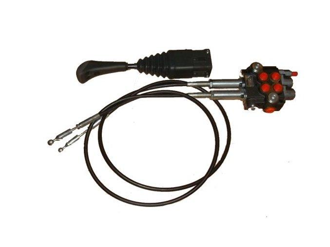 Hydraulický rozvaděč s lanovody 2/80 s jednočinnou sekcí pro čelní nakladač - sada