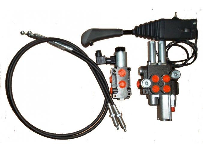 Hydraulický rozvaděč s lanovody 2/40 s plovoucí polohou pro čelní nakladače  - sada s třetí funkcí