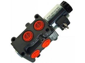 Hydraulická výhybka. Třetí funkce na nakladač. Ventil pro třetí funkci. 6/2 cestný elektrohydraulický ventil 12 VDC  90 l/min.