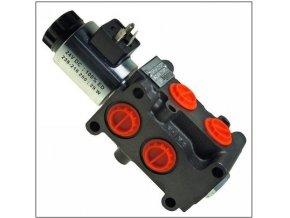 Hydraulická výhybka. Třetí funkce na nakladač. Ventil pro třetí funkci. 6/2 cestný elektrohydraulický ventil 24 VDC  90 l/min.