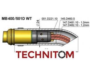 Vyhnutá hubice a průvlaky pro hořáky MB 401/501D (450/550A)