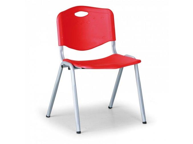 Plastová jídelní židle HANDY, červená