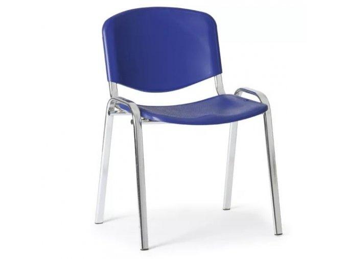 Plastová židle ISO, modrá konstrukce chromovaná