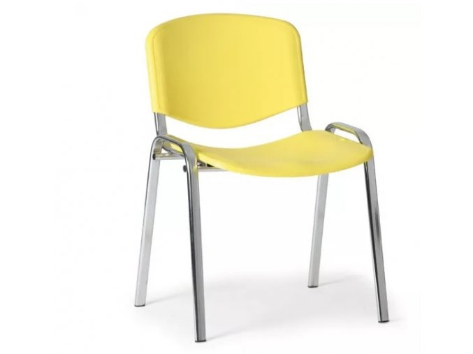 Plastová židle ISO, žlutá konstrukce chromovaná