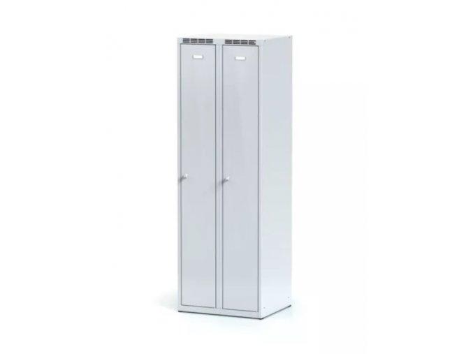Kovová šatní skříňka, šedé dveře