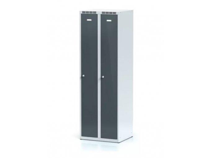 Kovová šatní skříňka, tmavě šedé dveře