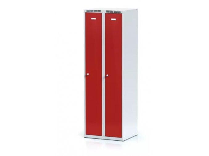 Kovová šatní skříňka, červené dveře