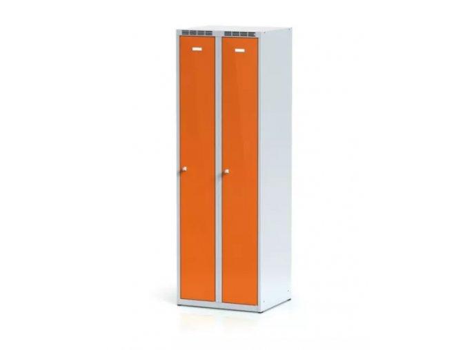 Kovová šatní skříňka, oranžové dveře