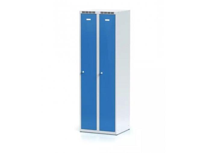 Kovová šatní skříňka, modré dveře, otočný zámek 1