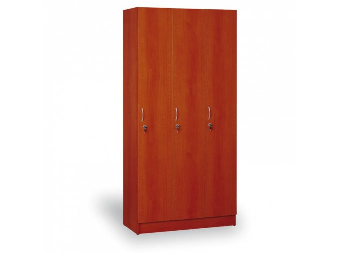 Dřevěná šatní skříň - trojdílná, calvados