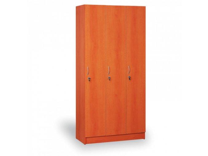 Dřevěná šatní skříň - trojdílná, třešeň