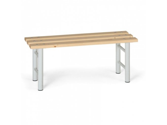 Šatní lavička, sedák - latě, šedé nohy, 1000 mm
