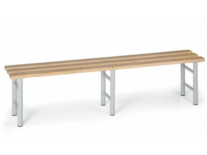 Šatní lavička, sedák latě, šedé nohy, 2000 mm