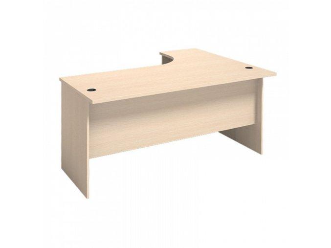 MIRELLI A+ Kancelářský stůl ergonomický, levý, bříza, 1400/800 x 1200/420 x 750 mm