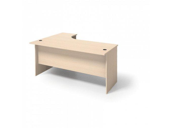MIRELLI A+ Kancelářský stůl ergonomický, pravý, bříza, 1400/800 x 1200/420 x 750 mm