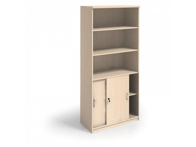 MIRELLI A+ Kancelářská skříň zasouvací, bříza, 800 x 400 x 1800 mm