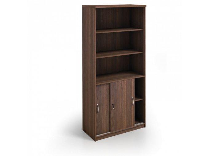 MIRELLI A+ Kancelářská skříň zasouvací, ořech, 800 x 400 x 1800 mm