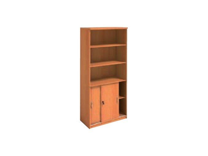 MIRELLI A+ Kancelářská skříň zasouvací, třešeň, 800 x 400 x 1800 mm