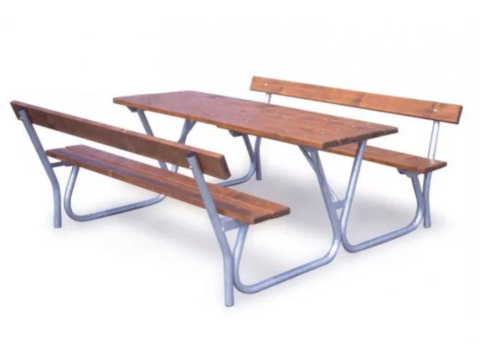 Venkovní stůl s lavicemi a opěradly