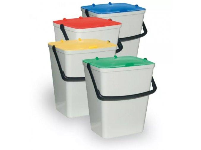 Sada plastových odpadkových košů 4 x 15 l, mix barev