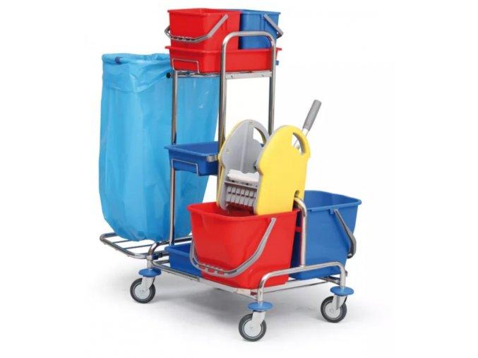 Profesionální úklidový vozík dvojkbelíkový pro kompletní úklid