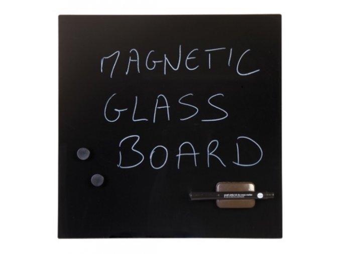 Skleněná popisovací magnetická tabule 48x48 cm, černá
