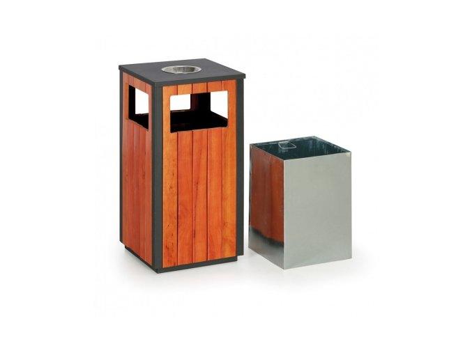 Metalco Odpadkový koš s popelníkem dřevěný