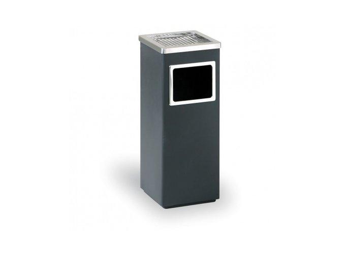 Odpadkový koš s popelníkem, nerez - černý 60 cm