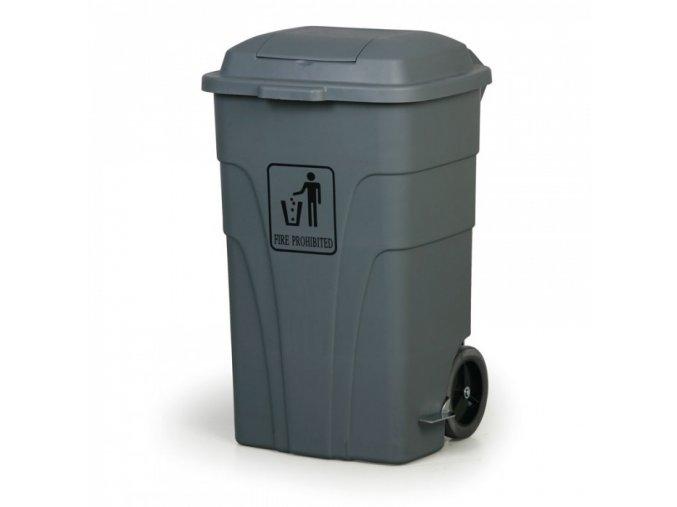 Nášlapný odpadkový koš 120 l, šedý