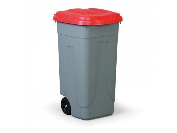 Mobilní odpadkový koš 100 L, červené víko