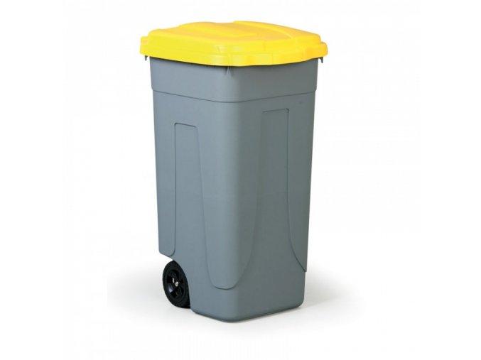 Mobilní odpadkový koš 100 L, žluté víko