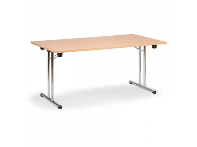 Skládací konferenční stůl, dezén buk, 1400 x 700 mm