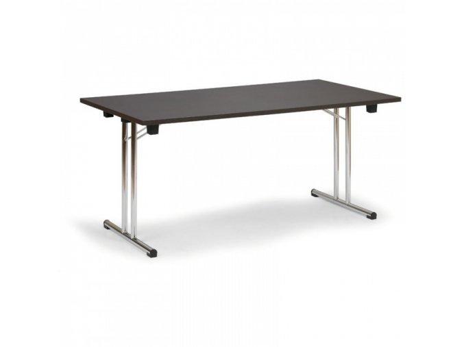 Skládací konferenční stůl, dezén wenge, 1400 x 700 mm