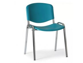 Plastová židle ISO, zelená konstrukce chromovaná
