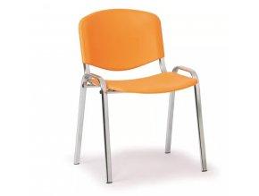 Plastová židle ISO, oranžová konstrukce chromovaná