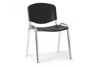 Plastová židle ISO, černá konstrukce chromovaná