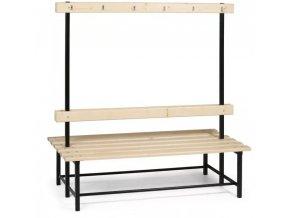 Šatní lavička s věšáky oboustranná
