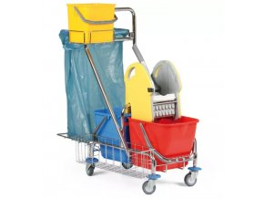 Profesionální dvojkbelíkový úklidový vozík s držákem na pytle