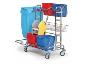 Profesionální úklidový vozík dvojkbelíkový pro kompletní úklid 2