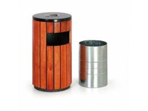 Odpadkový koš s popelníkem, dřevěný, 75,5 cm