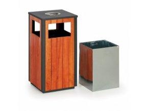 Odpadkový koš s popelníkem dřevěný