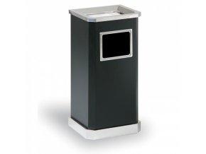 Odpadkový koš s popelníkem, nerez - černý 65 cm