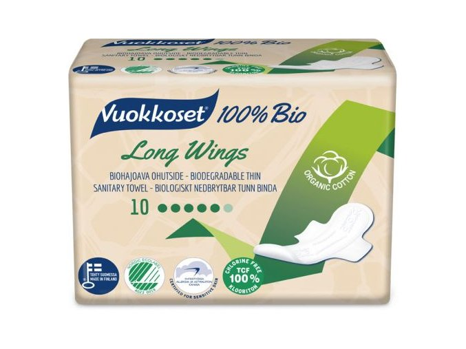 vuokkoset 100% bio 10 long wings thin