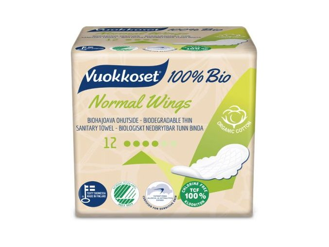 vuokkoset 100% bio 12 normal wings thin